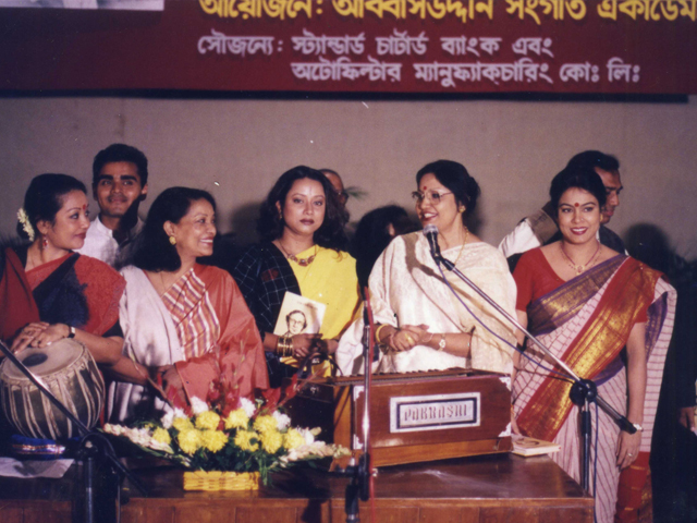 In the program of Abbasuddin Shongeet Academy, with Shahin Samad, Latifa Helen, Alam Ara Minu, Ferdausi Rahman and Ferdause Ara.
