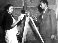 With Mehedi Hasan, at a studio in Karachi, recording for a film-1966