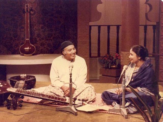With Ustad Imrat Khan on BTV.