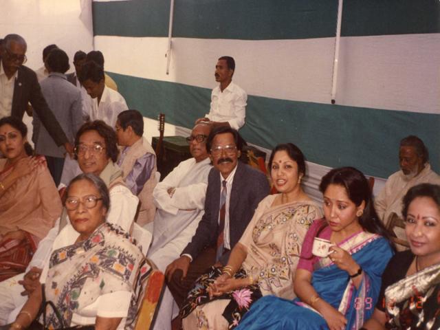 On the Golden Jubliee celebration of Bangladesh celebration of Bangladesh Betar in 1989. With Papia Sarowar, Khalid hossain, Laila Anjuman Banu, Rathindra nath Roy,Sohrab Hosssain, Sayed Abdul Hadi, FardausiRahman, Shabnam Mushtari and Abida Shultana.